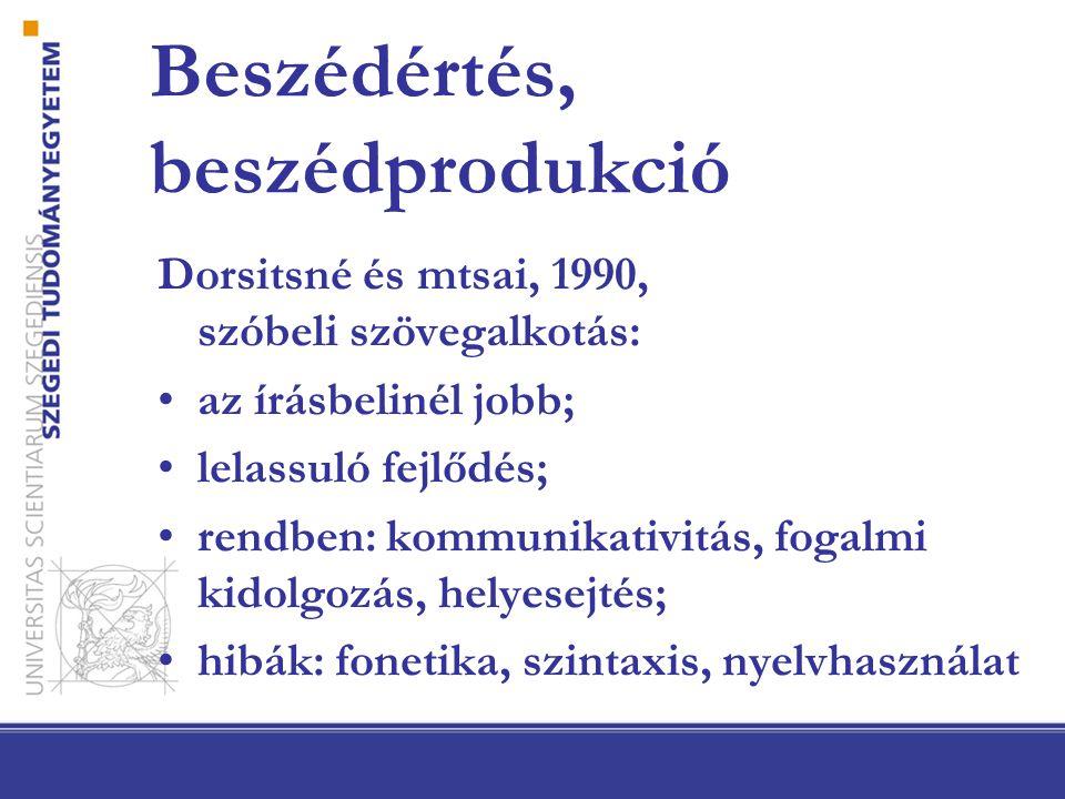 Beszédértés, beszédprodukció Dorsitsné és mtsai, 1990, szóbeli szövegalkotás: az írásbelinél jobb; lelassuló fejlődés; rendben: kommunikativitás, fogalmi kidolgozás, helyesejtés; hibák: fonetika, szintaxis, nyelvhasználat