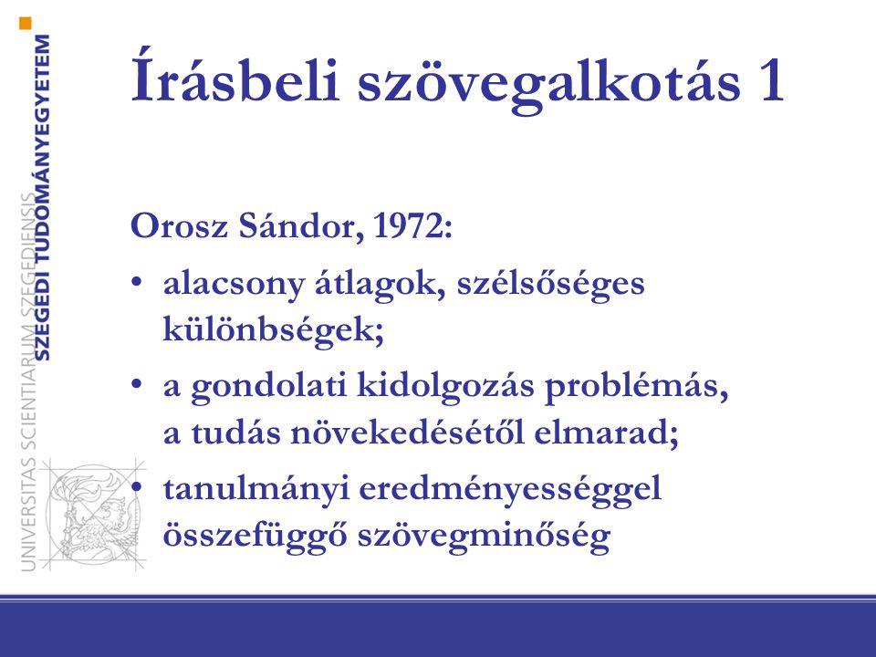 Írásbeli szövegalkotás 1 Orosz Sándor, 1972: alacsony átlagok, szélsőséges különbségek; a gondolati kidolgozás problémás, a tudás növekedésétől elmarad; tanulmányi eredményességgel összefüggő szövegminőség