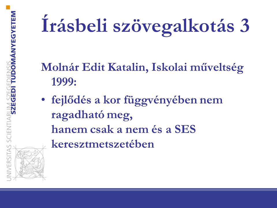 Írásbeli szövegalkotás 3 Molnár Edit Katalin, Iskolai műveltség 1999: fejlődés a kor függvényében nem ragadható meg, hanem csak a nem és a SES keresztmetszetében