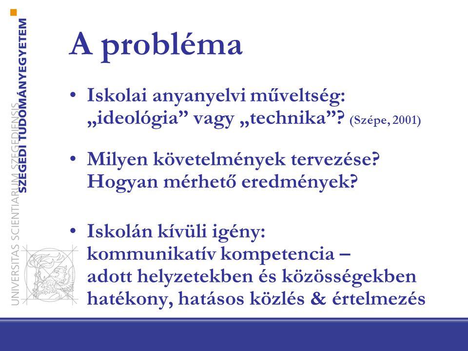 Tanulságok: a vizsgált konstruktum nyelvi vagy kommunikációs jelenség produktum, folyamat ismeret, képesség, motívum tartalmi tudás szerepe iskolai vs.