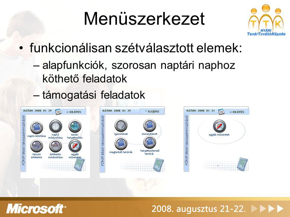 Menüszerkezet funkcionálisan szétválasztott elemek: –alapfunkciók, szorosan naptári naphoz köthető feladatok –támogatási feladatok.