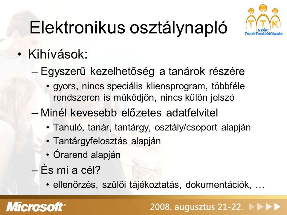 Elektronikus osztálynapló Kihívások: –Egyszerű kezelhetőség a tanárok részére gyors, nincs speciális kliensprogram, többféle rendszeren is működjön, n