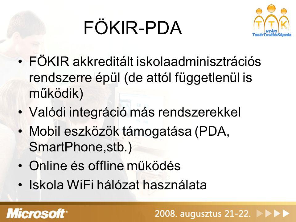 FÖKIR-PDA Integráció: –MS Office –MS Active Directory –MS Exchange –MS Class Server –Mobil rendszerek (PDA, Windows CE, Windows Mobile, stb.) –Más szoftverek: aSc órarend készítő, … –Adatfelvitel más rendszerből: KIR,…