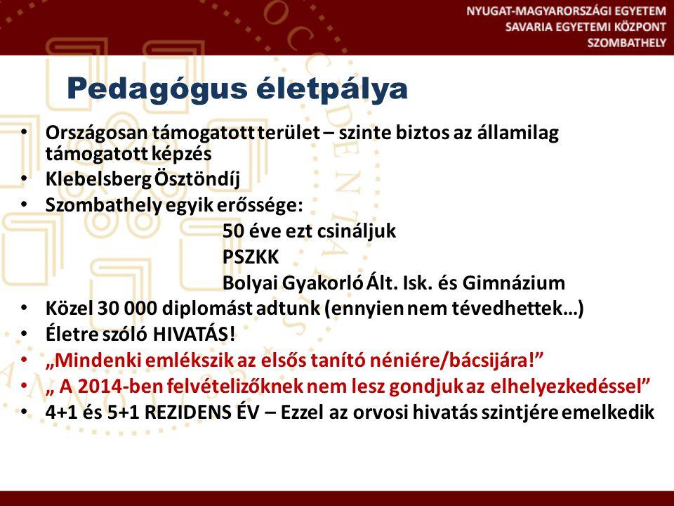 Országosan támogatott terület – szinte biztos az államilag támogatott képzés Klebelsberg Ösztöndíj Szombathely egyik erőssége: 50 éve ezt csináljuk PS