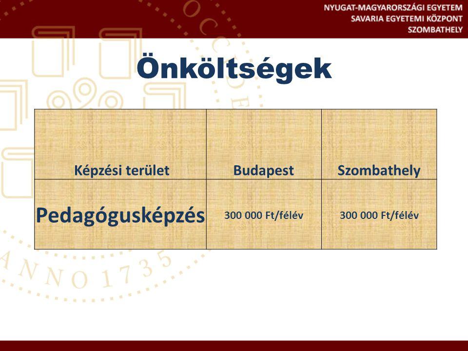 Önköltségek Képzési területBudapestSzombathely Pedagógusképzés 300 000 Ft/félév