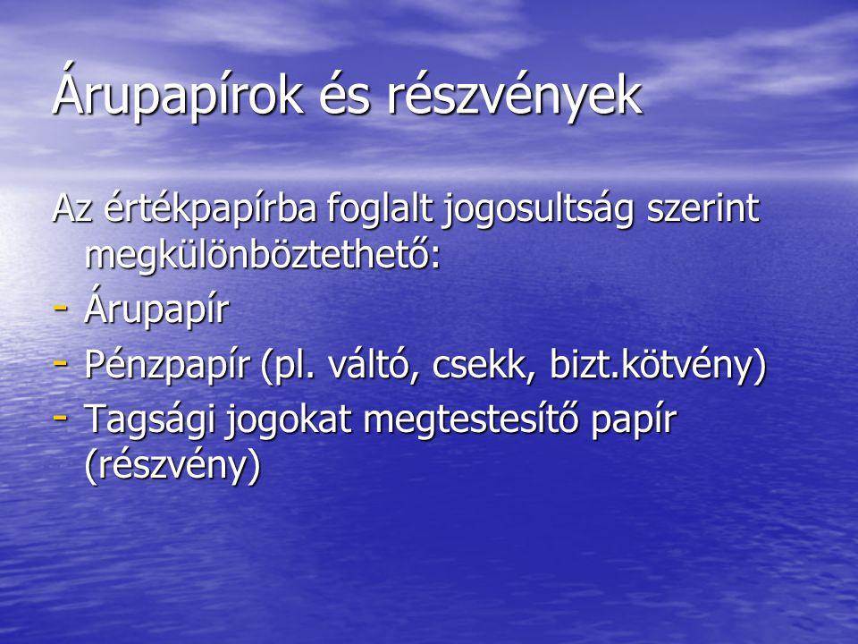Árupapírok és részvények Az értékpapírba foglalt jogosultság szerint megkülönböztethető: - Árupapír - Pénzpapír (pl. váltó, csekk, bizt.kötvény) - Tag