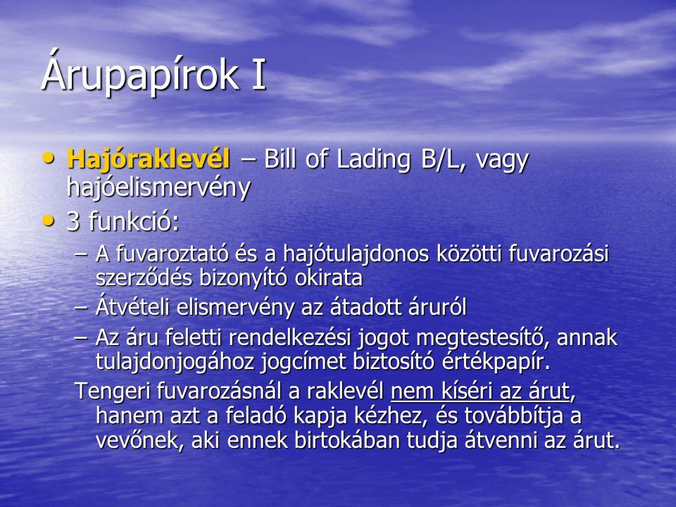 Árupapírok I Hajóraklevél – Bill of Lading B/L, vagy hajóelismervény Hajóraklevél – Bill of Lading B/L, vagy hajóelismervény 3 funkció: 3 funkció: –A