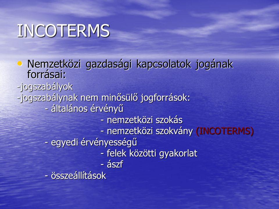 INCOTERMS Nemzetközi gazdasági kapcsolatok jogának forrásai: Nemzetközi gazdasági kapcsolatok jogának forrásai:-jogszabályok -jogszabálynak nem minősü