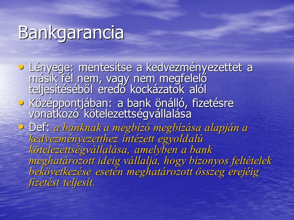 Bankgarancia Lényege: mentesítse a kedvezményezettet a másik fél nem, vagy nem megfelelő teljesítéséből eredő kockázatok alól Lényege: mentesítse a ke