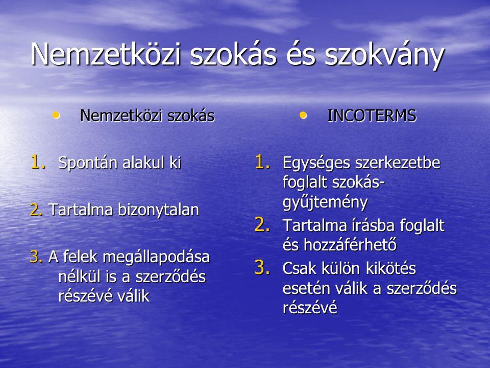 Nemzetközi szokás és szokvány Nemzetközi szokás Nemzetközi szokás 1. Spontán alakul ki 2. Tartalma bizonytalan 3. A felek megállapodása nélkül is a sz