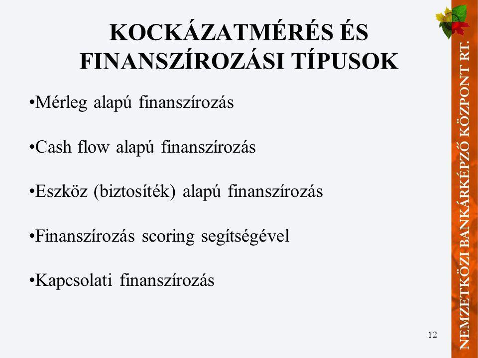 12 KOCKÁZATMÉRÉS ÉS FINANSZÍROZÁSI TÍPUSOK Mérleg alapú finanszírozás Cash flow alapú finanszírozás Eszköz (biztosíték) alapú finanszírozás Finanszíro