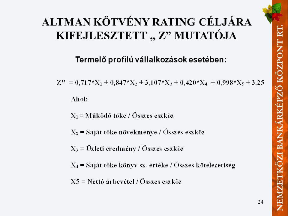 """24 ALTMAN KÖTVÉNY RATING CÉLJÁRA KIFEJLESZTETT """" Z"""" MUTATÓJA Termelő profilú vállalkozások esetében:"""