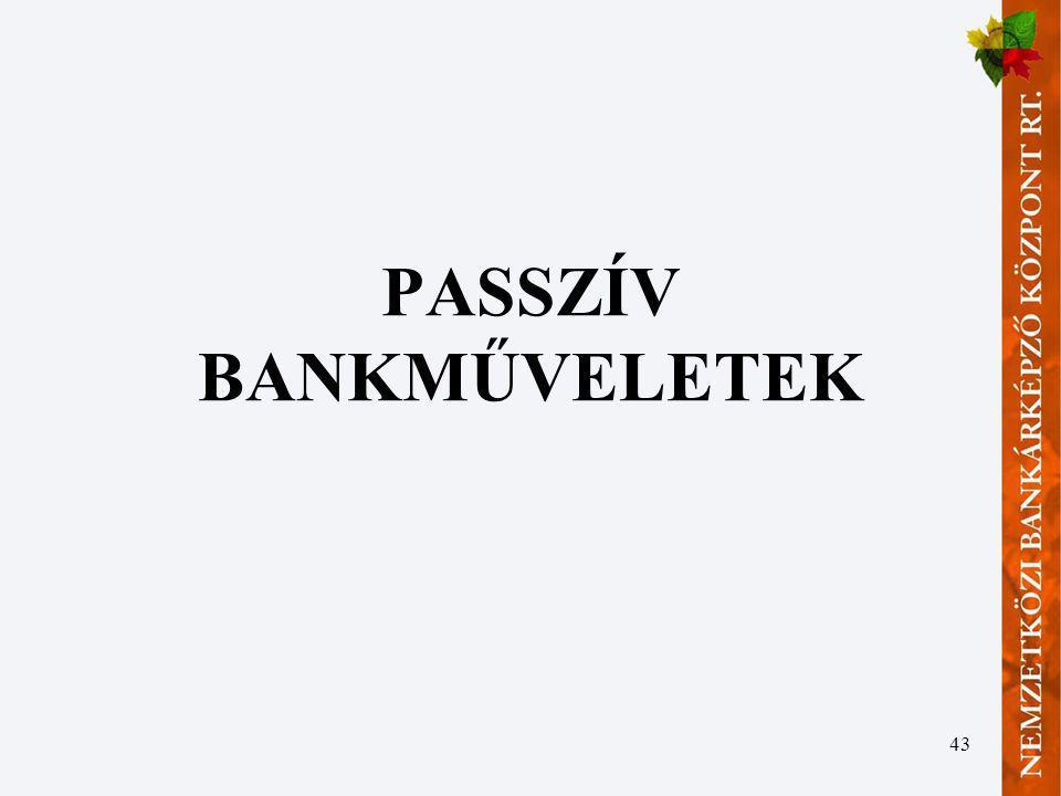 43 PASSZÍV BANKMŰVELETEK