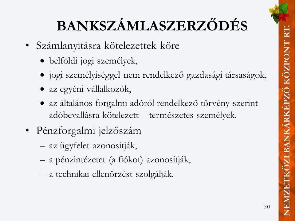50 BANKSZÁMLASZERZŐDÉS Számlanyitásra kötelezettek köre  belföldi jogi személyek,  jogi személyiséggel nem rendelkező gazdasági társaságok,  az egy