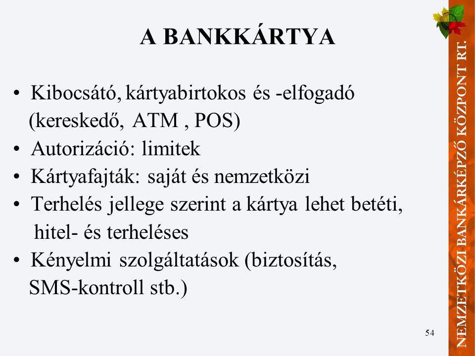 54 A BANKKÁRTYA Kibocsátó, kártyabirtokos és -elfogadó (kereskedő, ATM, POS) Autorizáció: limitek Kártyafajták: saját és nemzetközi Terhelés jellege s