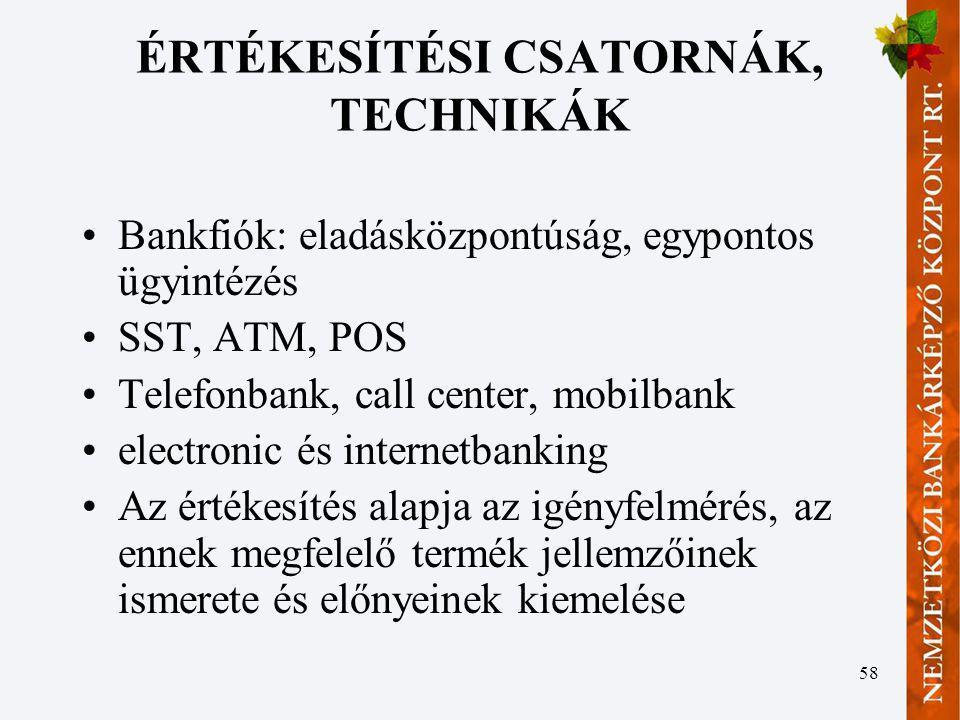 58 ÉRTÉKESÍTÉSI CSATORNÁK, TECHNIKÁK Bankfiók: eladásközpontúság, egypontos ügyintézés SST, ATM, POS Telefonbank, call center, mobilbank electronic és