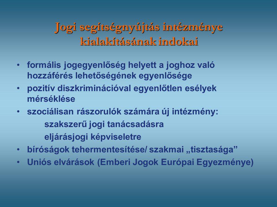 """Jogi segítségnyújtás intézménye kialakításának indokai formális jogegyenlőség helyett a joghoz való hozzáférés lehetőségének egyenlősége pozitív diszkriminációval egyenlőtlen esélyek mérséklése szociálisan rászorulók számára új intézmény: szakszerű jogi tanácsadásra eljárásjogi képviseletre bíróságok tehermentesítése/ szakmai """"tisztasága Uniós elvárások (Emberi Jogok Európai Egyezménye)"""