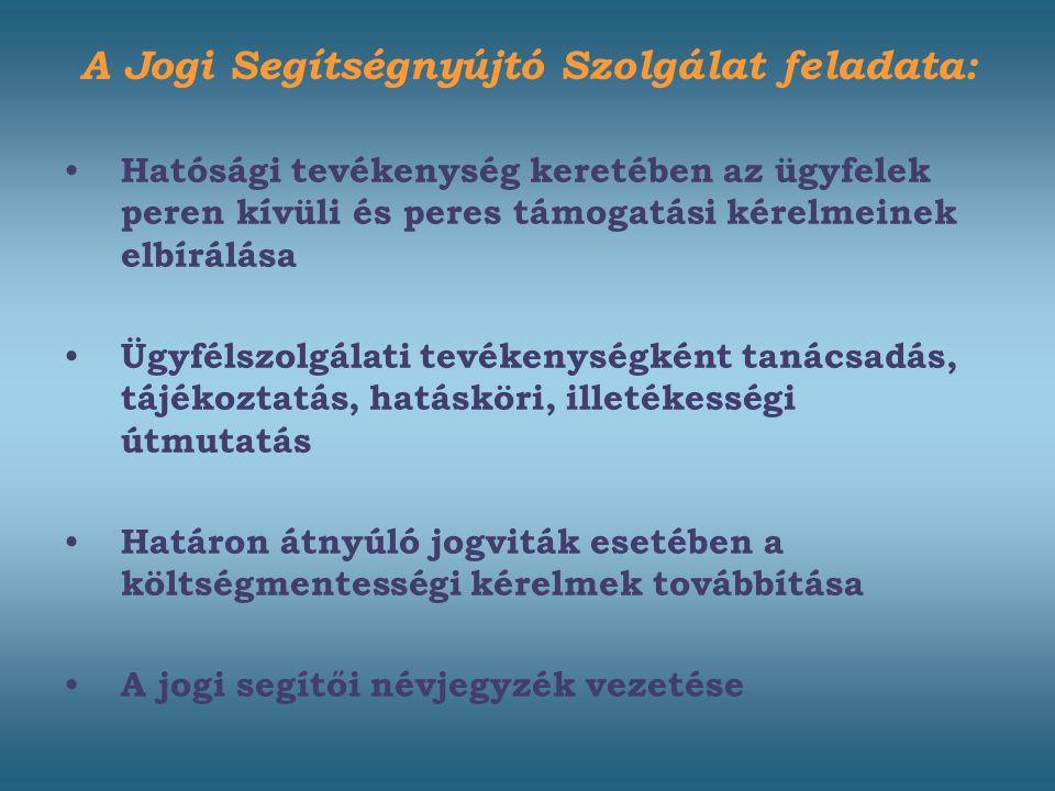 Hatósági tevékenység keretében az ügyfelek peren kívüli és peres támogatási kérelmeinek elbírálása Ügyfélszolgálati tevékenységként tanácsadás, tájékoztatás, hatásköri, illetékességi útmutatás Határon átnyúló jogviták esetében a költségmentességi kérelmek továbbítása A jogi segítői névjegyzék vezetése A Jogi Segítségnyújtó Szolgálat feladata: