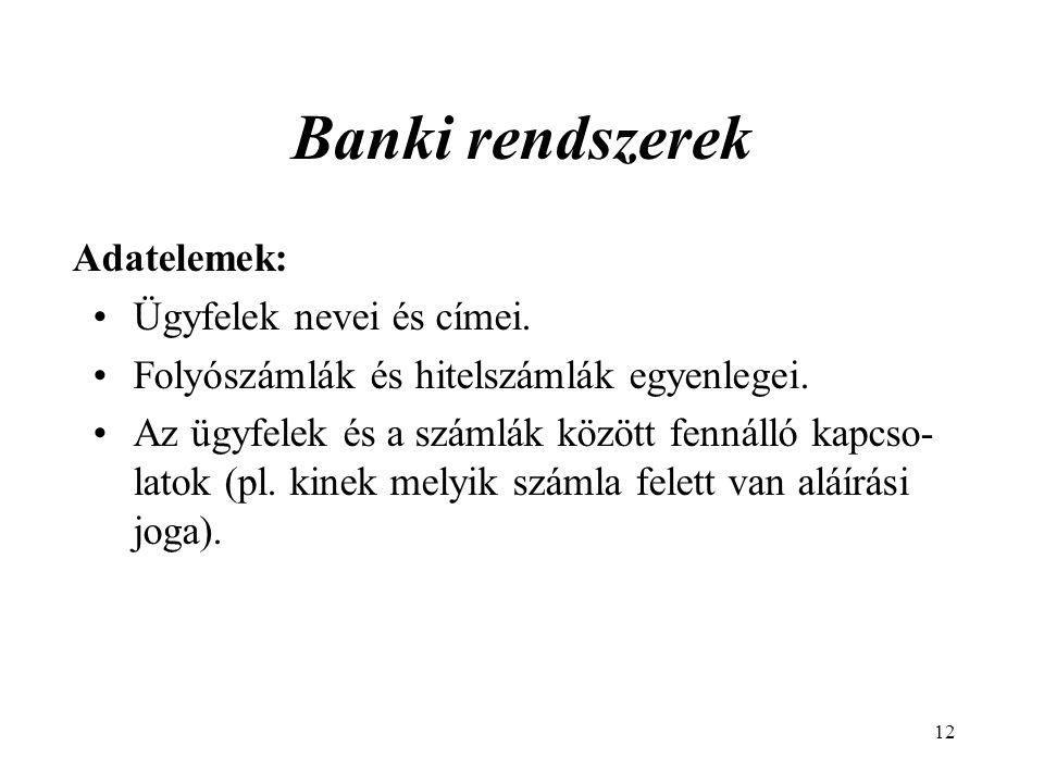 12 Banki rendszerek Adatelemek: Ügyfelek nevei és címei.