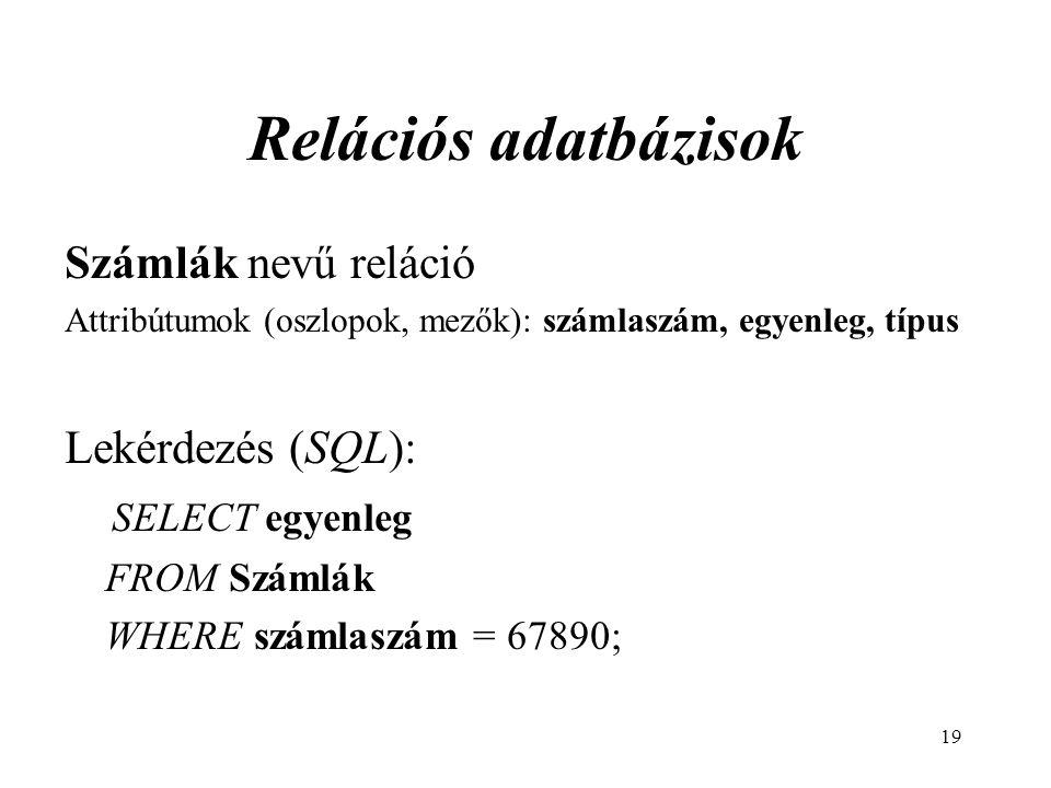 19 Relációs adatbázisok Számlák nevű reláció Attribútumok (oszlopok, mezők): számlaszám, egyenleg, típus Lekérdezés (SQL): SELECT egyenleg FROM Számlák WHERE számlaszám = 67890;