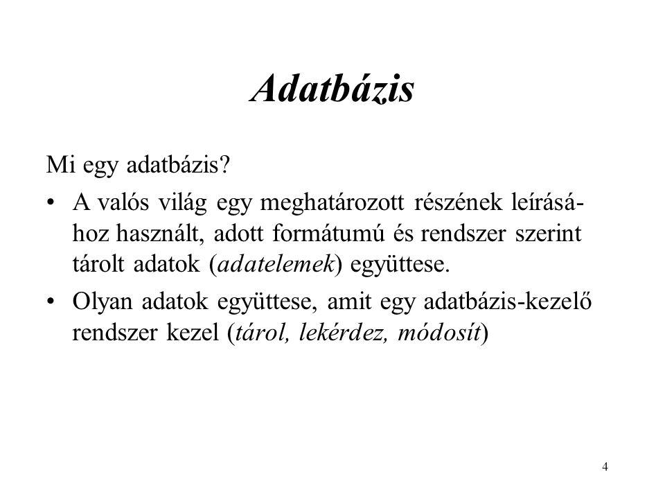 4 Adatbázis Mi egy adatbázis.