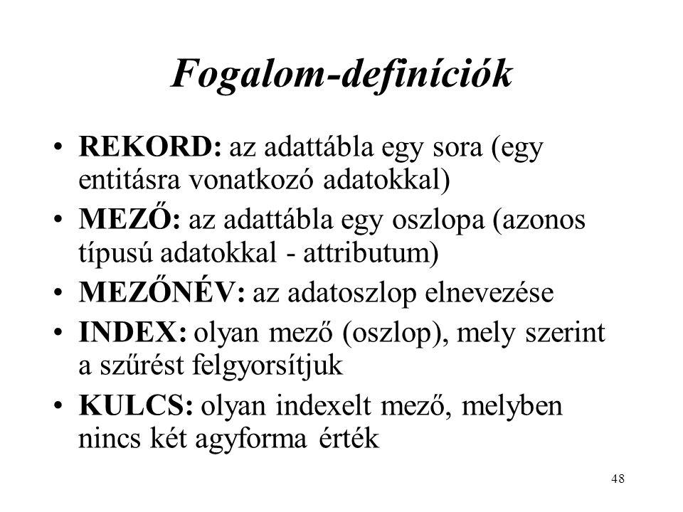 48 Fogalom-definíciók REKORD: az adattábla egy sora (egy entitásra vonatkozó adatokkal) MEZŐ: az adattábla egy oszlopa (azonos típusú adatokkal - attributum) MEZŐNÉV: az adatoszlop elnevezése INDEX: olyan mező (oszlop), mely szerint a szűrést felgyorsítjuk KULCS: olyan indexelt mező, melyben nincs két agyforma érték