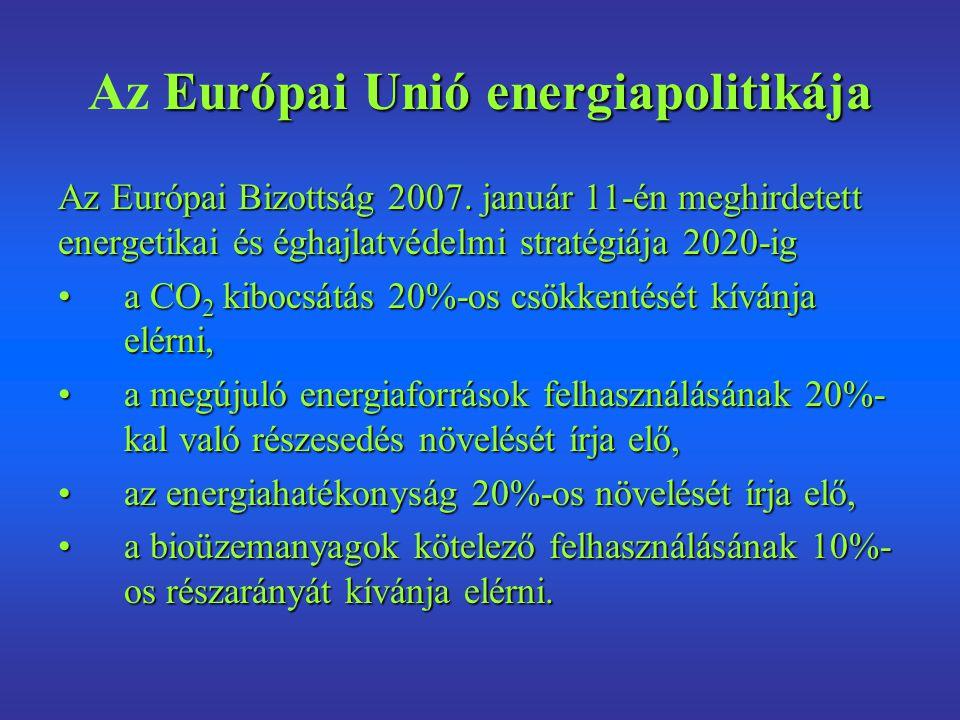 Európai Unió energiapolitikája Az Európai Unió energiapolitikája Az Európai Bizottság 2007. január 11-én meghirdetett energetikai és éghajlatvédelmi s