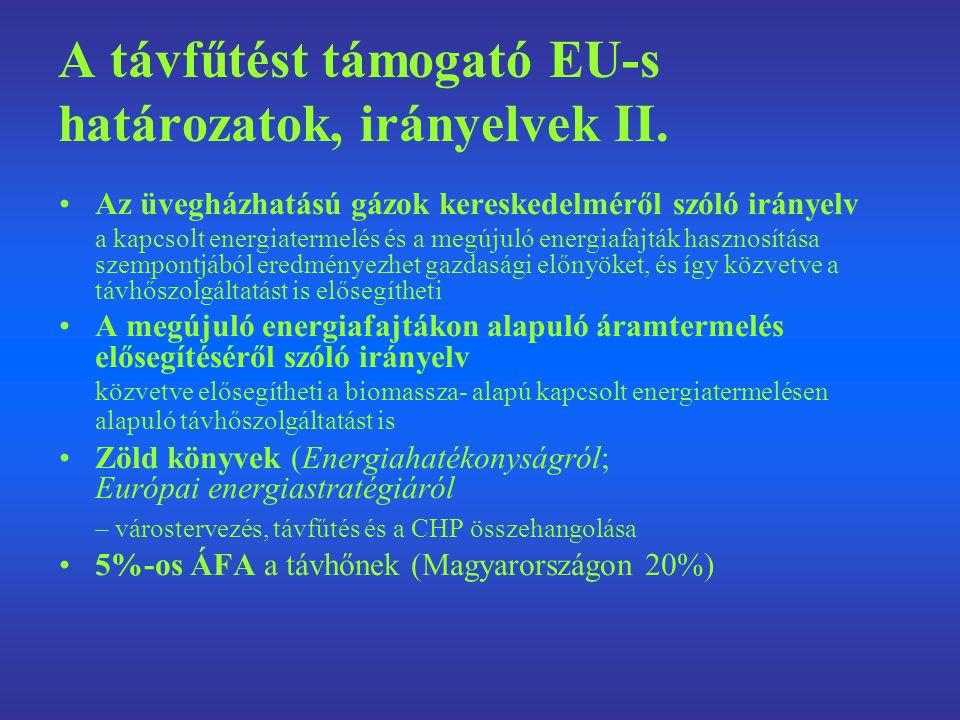 A távfűtést támogató EU-s határozatok, irányelvek II. Az üvegházhatású gázok kereskedelméről szóló irányelv a kapcsolt energiatermelés és a megújuló e
