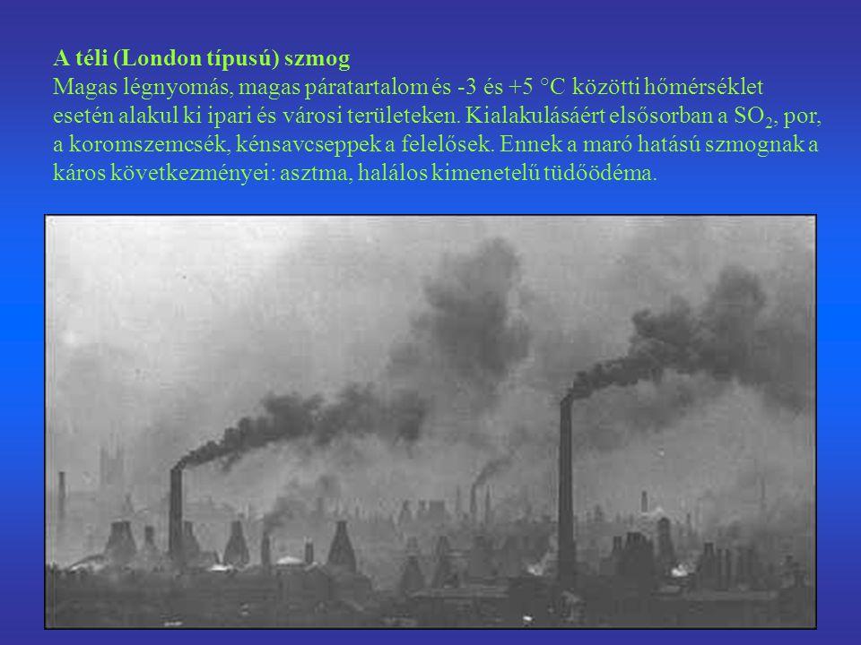 A téli (London típusú) szmog Magas légnyomás, magas páratartalom és -3 és +5 °C közötti hőmérséklet esetén alakul ki ipari és városi területeken. Kial