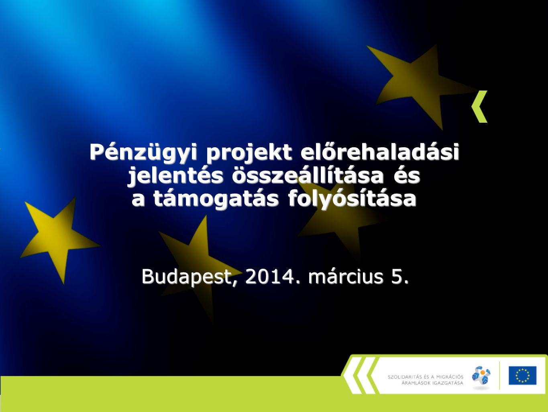 Pénzügyi projekt előrehaladási jelentés összeállítása és a támogatás folyósítása Budapest, 2014.