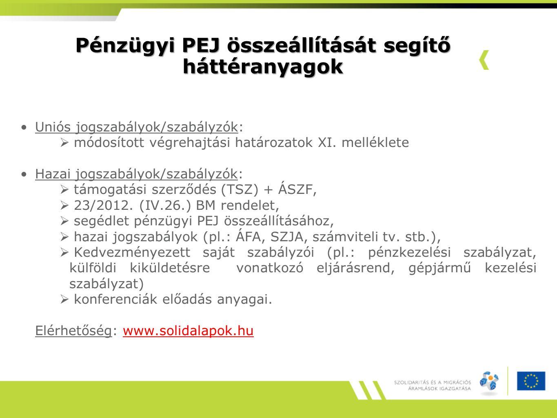 Pénzügyi PEJ összeállítását segítő háttéranyagok Uniós jogszabályok/szabályzók:  módosított végrehajtási határozatok XI.