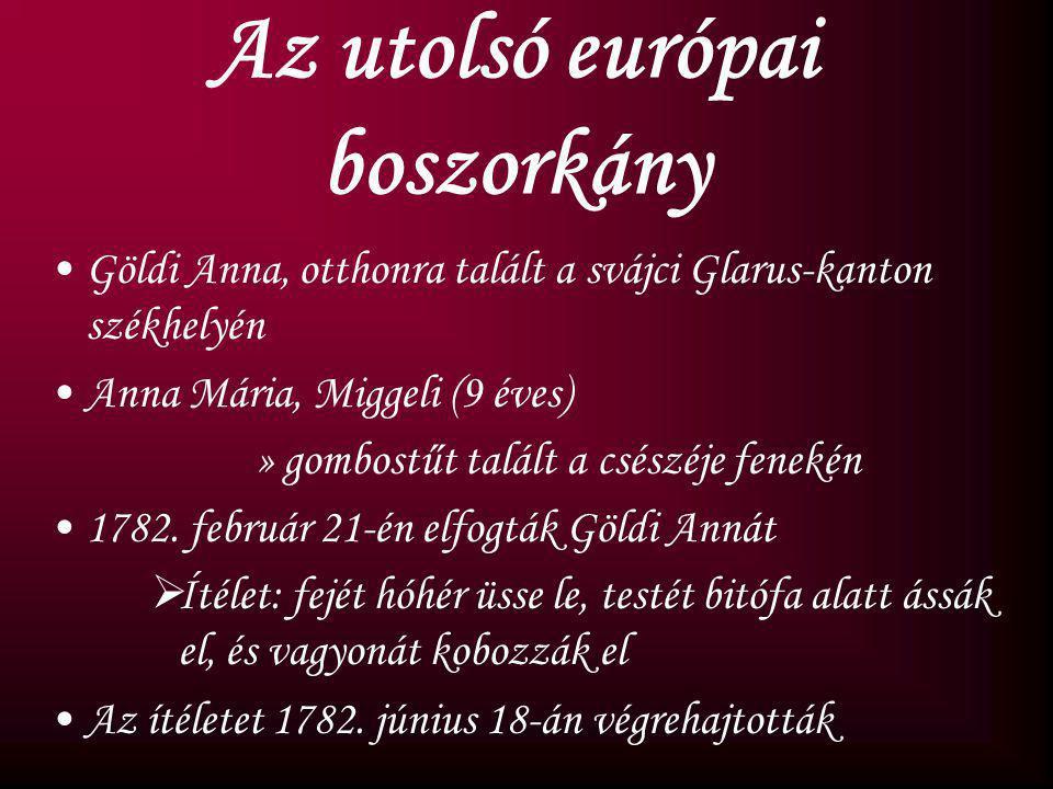 A boszorkányperek Magyarországon az első boszorkányt valószínűleg 1565-ben, az utolsót 1756-ban égették meg 554 került bíró elé 192 máglyahalál vagy l