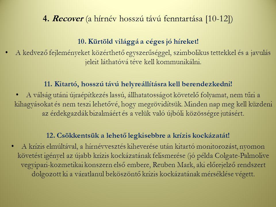 4. Recover (a hírnév hosszú távú fenntartása [10-12]) 10.Kürtöld világgá a céges jó híreket! A kedvező fejleményeket közérthető egyszerűséggel, szimbo