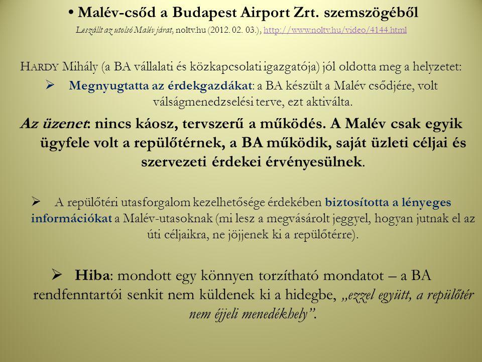 Malév-csőd a Budapest Airport Zrt. szemszögéből Leszállt az utolsó Malév járat, noltv.hu (2012. 02. 03.), http://www.noltv.hu/video/4144.htmlhttp://ww