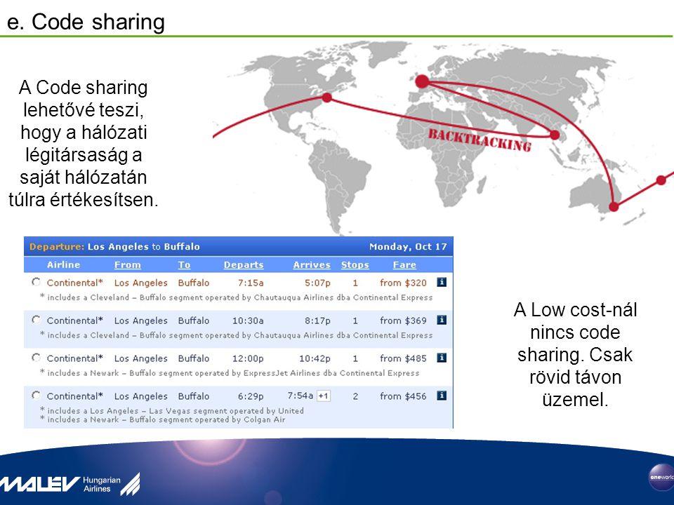 e. Code sharing A Code sharing lehetővé teszi, hogy a hálózati légitársaság a saját hálózatán túlra értékesítsen. A Low cost-nál nincs code sharing. C