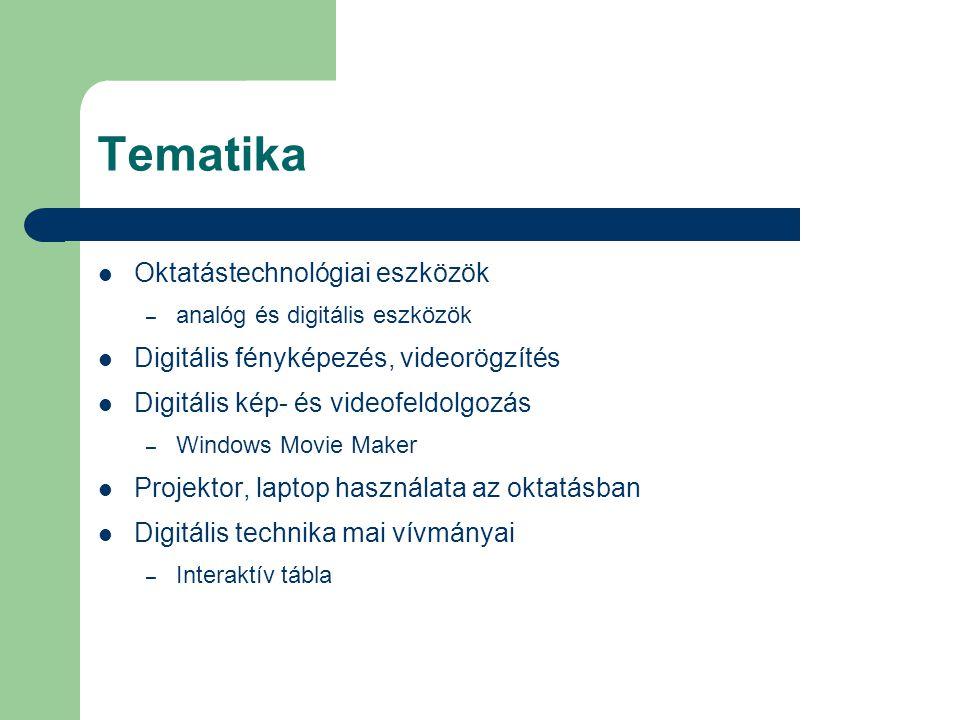 Tematika Oktatástechnológiai eszközök – analóg és digitális eszközök Digitális fényképezés, videorögzítés Digitális kép- és videofeldolgozás – Windows