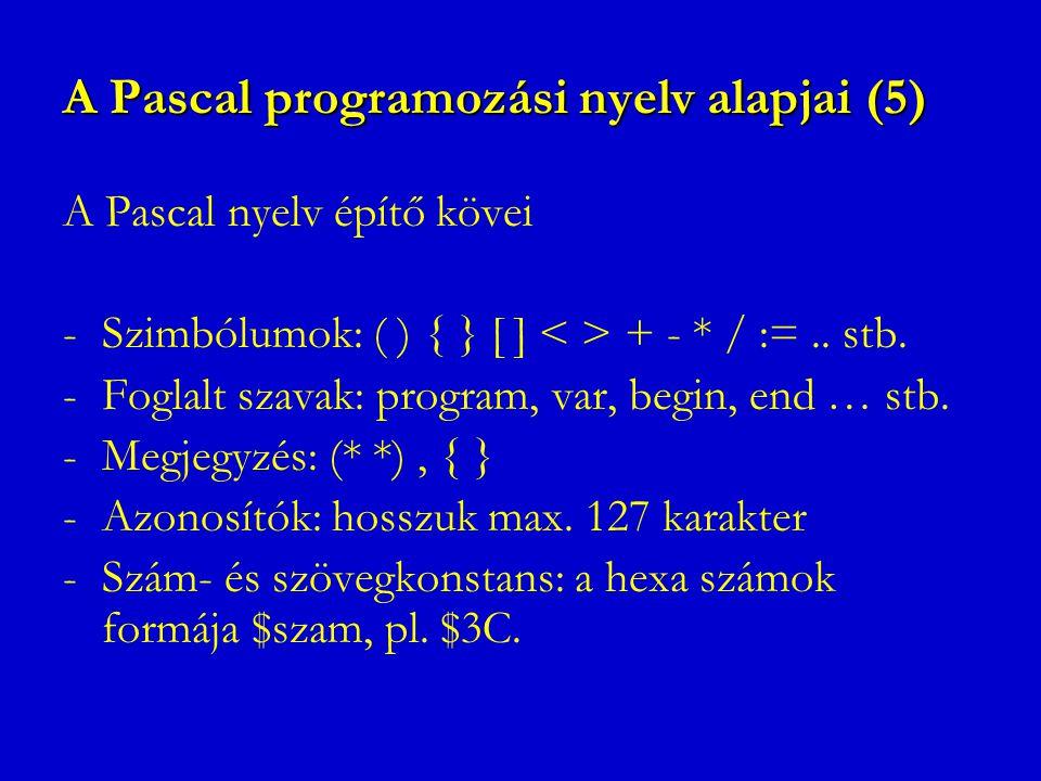 A Pascal programozási nyelv alapjai (5) A Pascal nyelv építő kövei -Szimbólumok: ( ) { } [ ] + - * / :=.. stb. -Foglalt szavak: program, var, begin, e