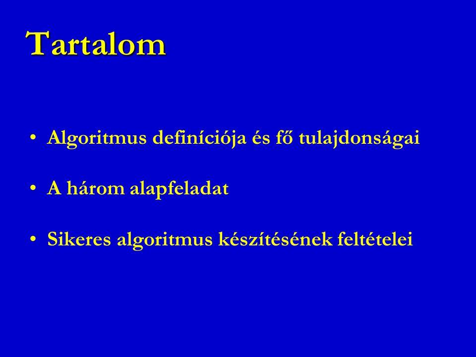 Tartalom Algoritmus definíciója és fő tulajdonságai A három alapfeladat Sikeres algoritmus készítésének feltételei