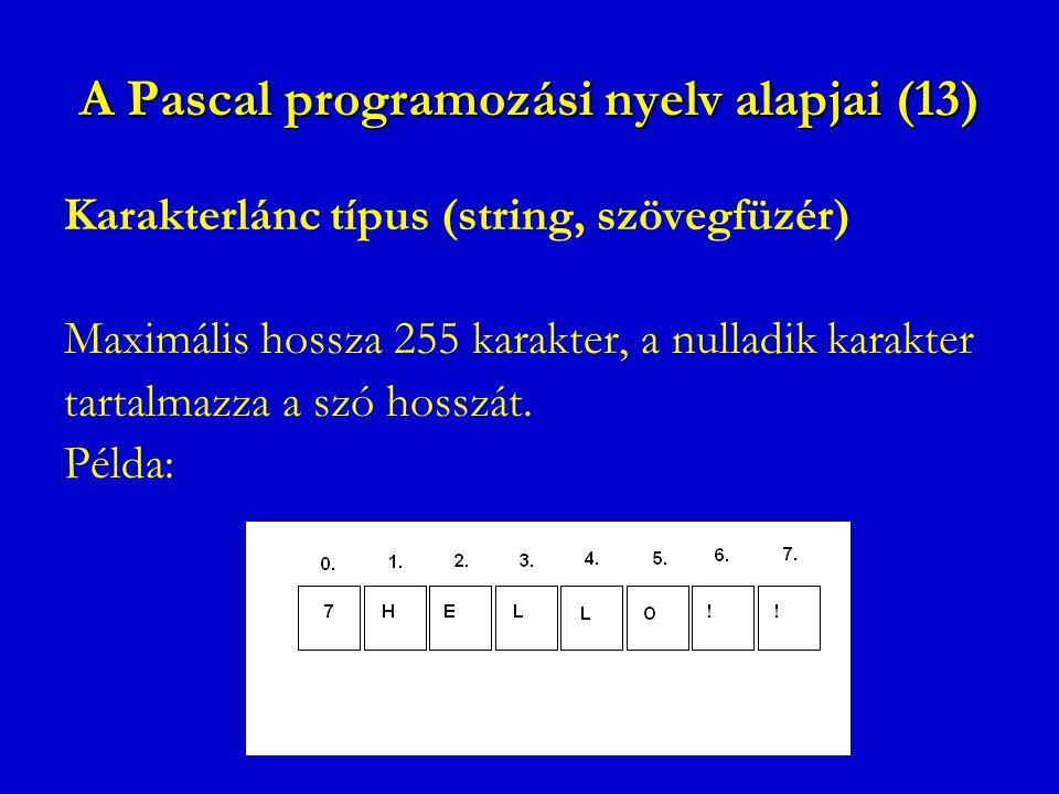 A Pascal programozási nyelv alapjai (13) Karakterlánc típus (string, szövegfüzér) Maximális hossza 255 karakter, a nulladik karakter tartalmazza a szó