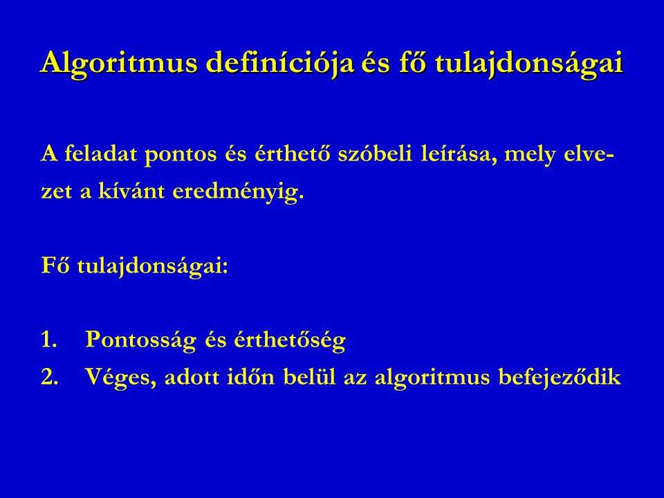 Algoritmus definíciója és fő tulajdonságai A feladat pontos és érthető szóbeli leírása, mely elve- zet a kívánt eredményig. Fő tulajdonságai: 1.Pontos