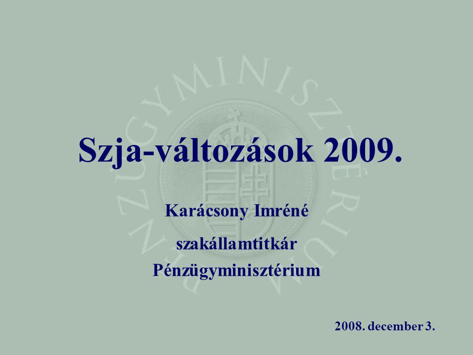 Szja-változások 2009. Karácsony Imréné szakállamtitkár Pénzügyminisztérium 2008. december 3.
