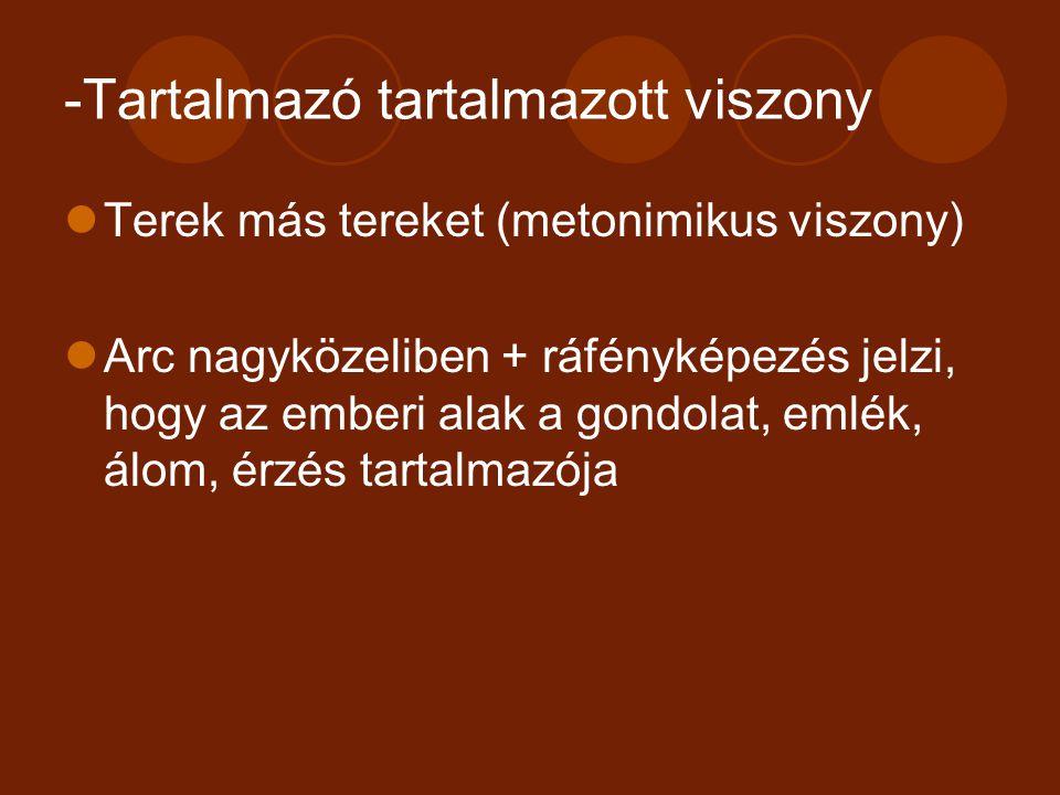 -Tartalmazó tartalmazott viszony Terek más tereket (metonimikus viszony) Arc nagyközeliben + ráfényképezés jelzi, hogy az emberi alak a gondolat, emlé