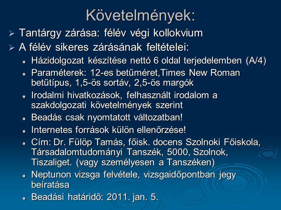 A tantárgy felépítése, dolgozat javasolt témakörei:   Magyarország helyzete a II.