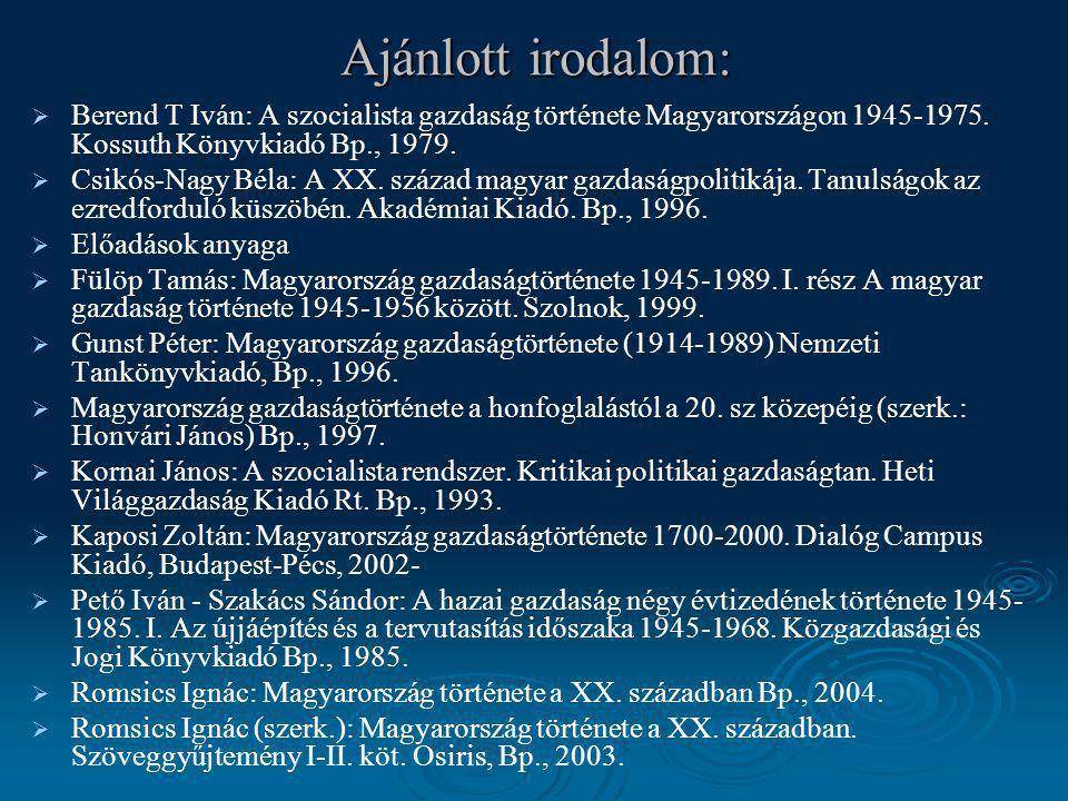Ajánlott irodalom:   Berend T Iván: A szocialista gazdaság története Magyarországon 1945-1975. Kossuth Könyvkiadó Bp., 1979.   Csikós-Nagy Béla: A