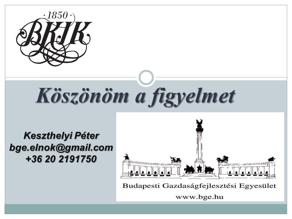 Köszönöm a figyelmet Köszönöm a figyelmet Keszthelyi Péter bge.elnok@gmail.com +36 20 2191750