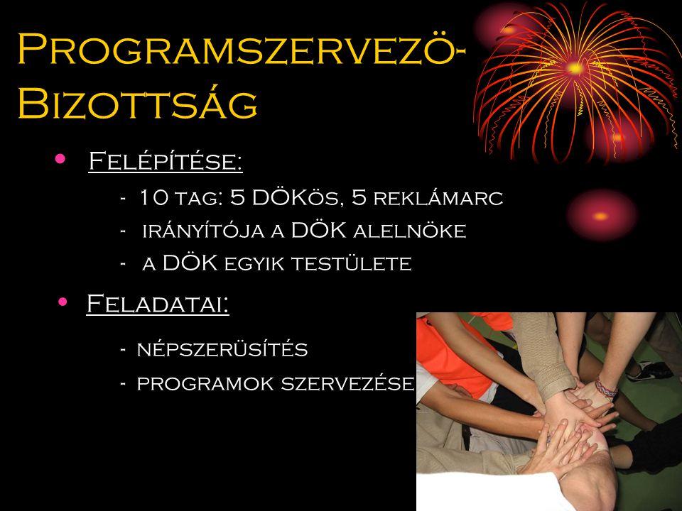 Programszervezö- Bizottság Felépítése : - 10 tag: 5 DÖKös, 5 reklámarc - irányítója a DÖK alelnöke - a DÖK egyik testülete Feladatai: - népszerüsítés - programok szervezése