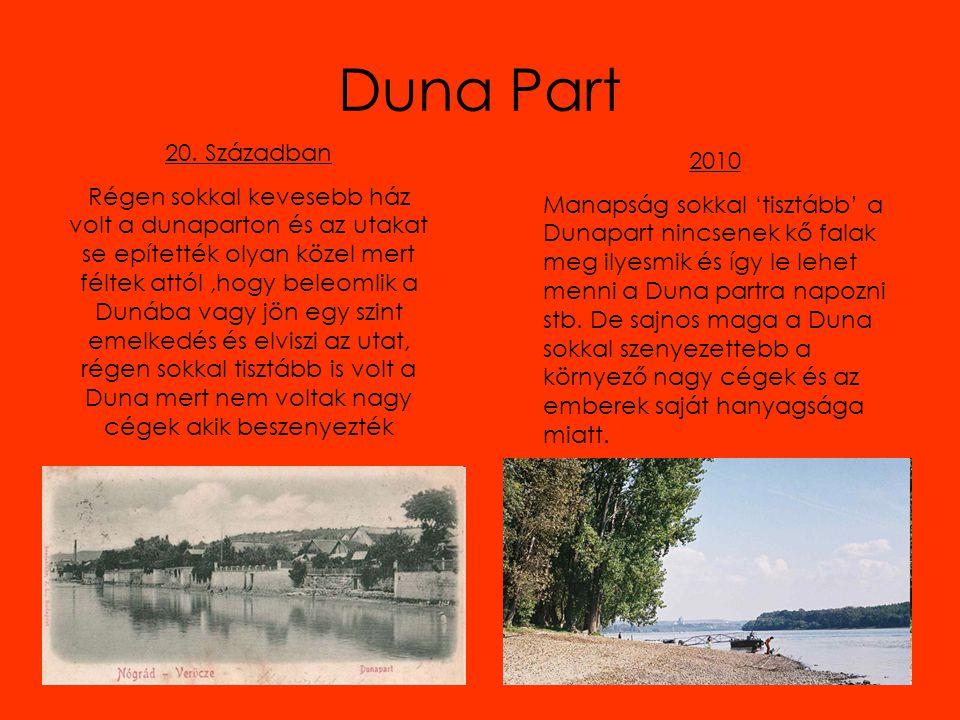 Duna Part 20. Században Régen sokkal kevesebb ház volt a dunaparton és az utakat se epítették olyan közel mert féltek attól,hogy beleomlik a Dunába va