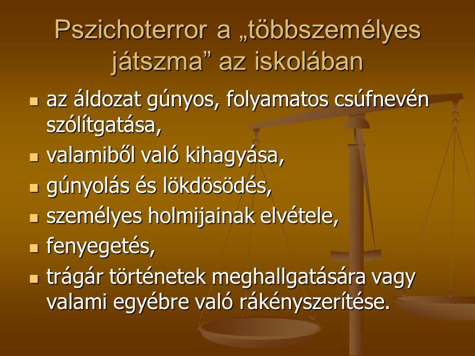 """Pszichoterror a """"többszemélyes játszma"""" az iskolában az áldozat gúnyos, folyamatos csúfnevén szólítgatása, az áldozat gúnyos, folyamatos csúfnevén szó"""