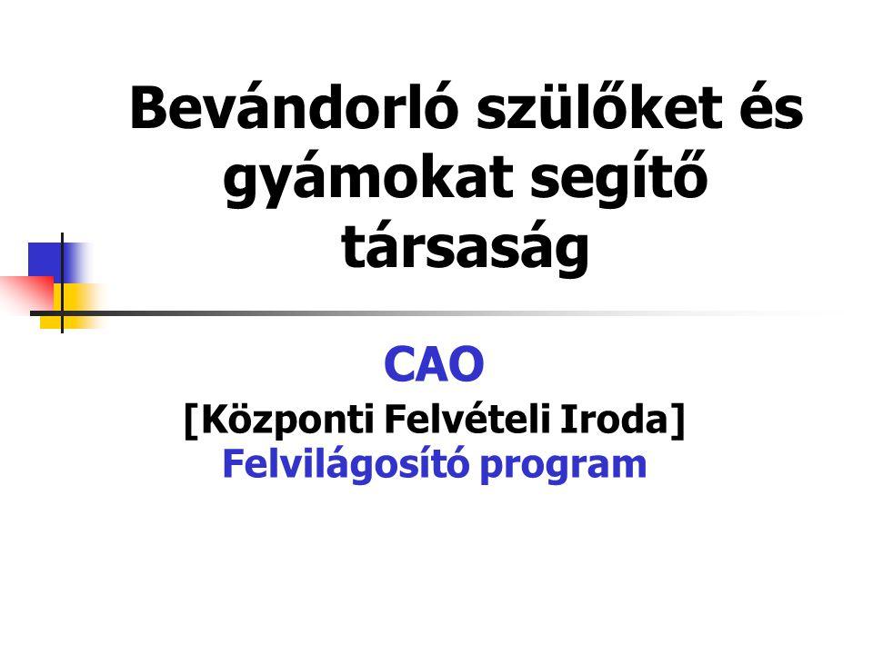 Bevándorló szülőket és gyámokat segítő társaság CAO [Központi Felvételi Iroda] Felvilágosító program