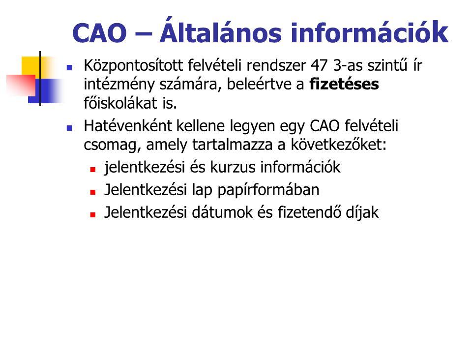 CAO – Általános információ k Központosított felvételi rendszer 47 3-as szintű ír intézmény számára, beleértve a fizetéses főiskolákat is.
